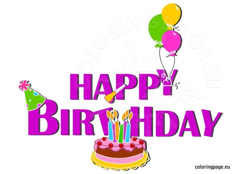 Happy birthday cake with balloons Coloring Page