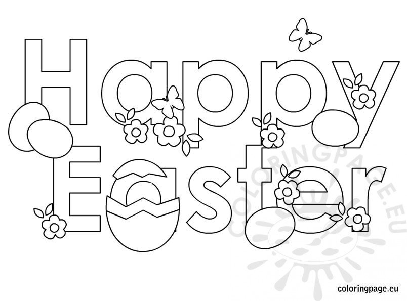 Easter Coloring Page Happy Easter Coloring Page