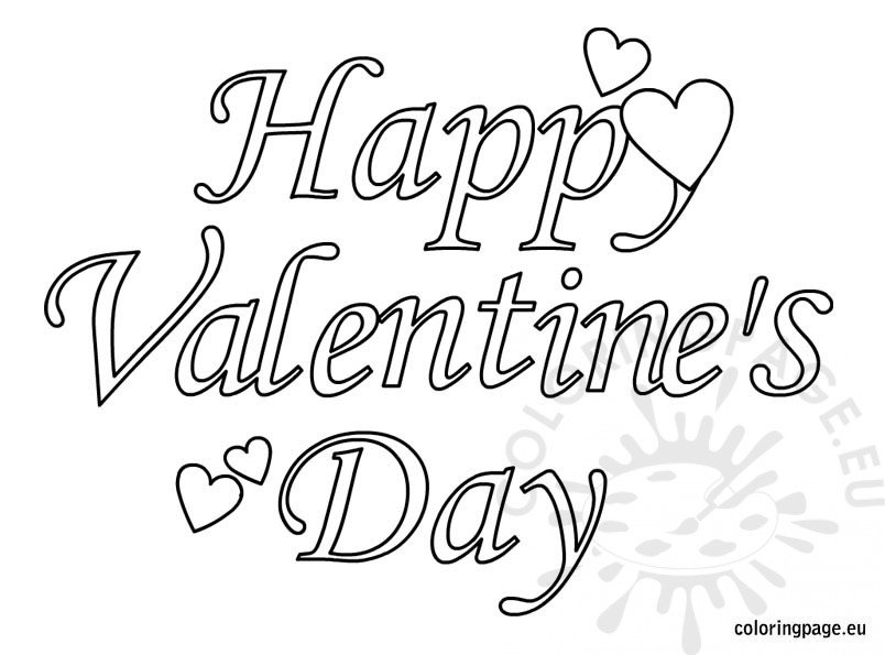 Happy Valentines Day Text Coloring Page