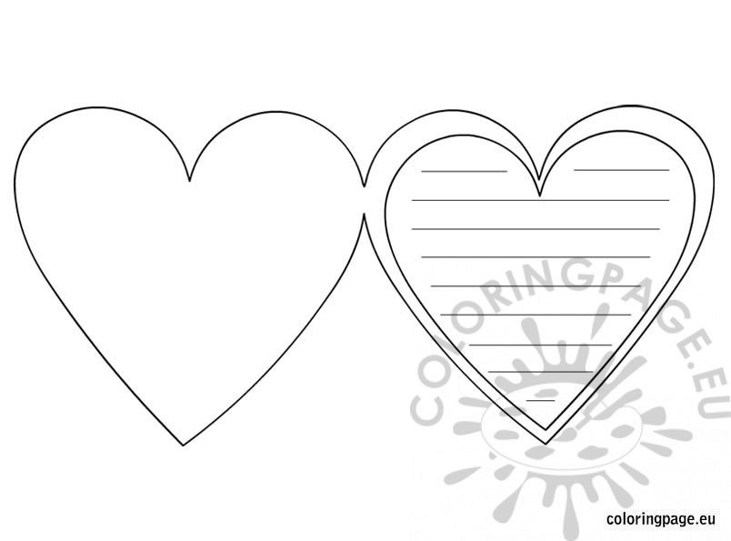 Heart Card Template Coloring Page