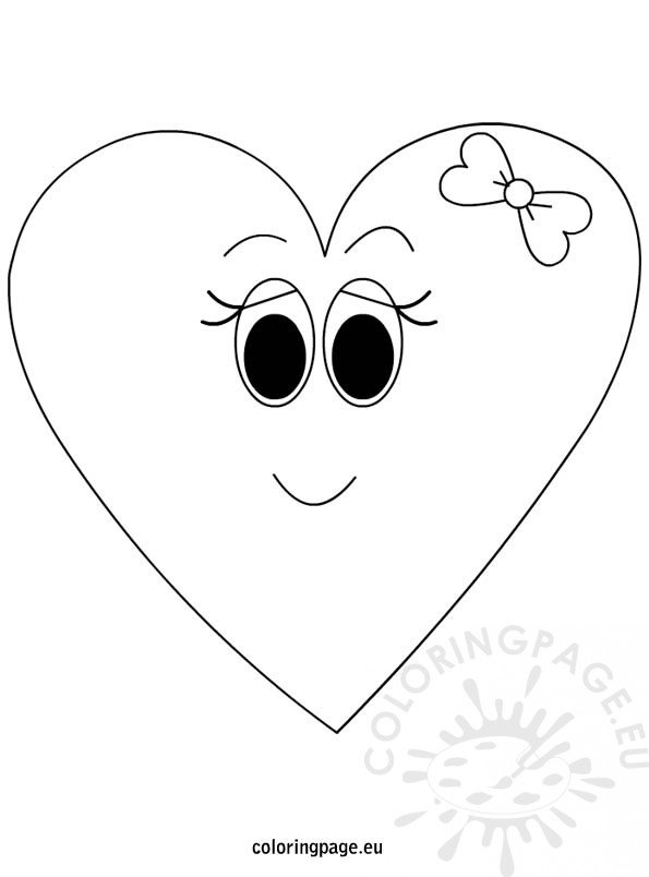 girl cartoon heart coloring � coloring page