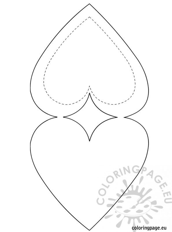 Heart Shaped Card Template | Coloring Page