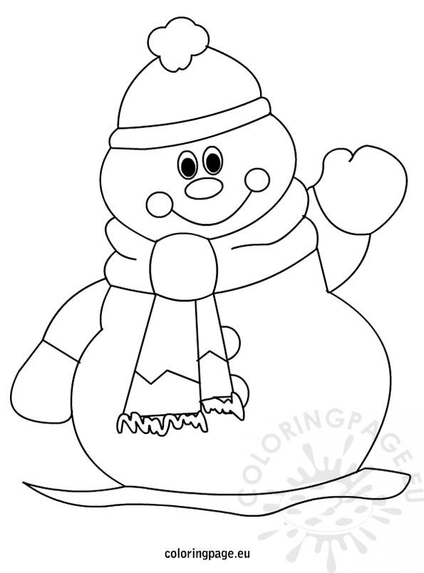 Winter snowman coloring page for kids for Free coloring pages snowman