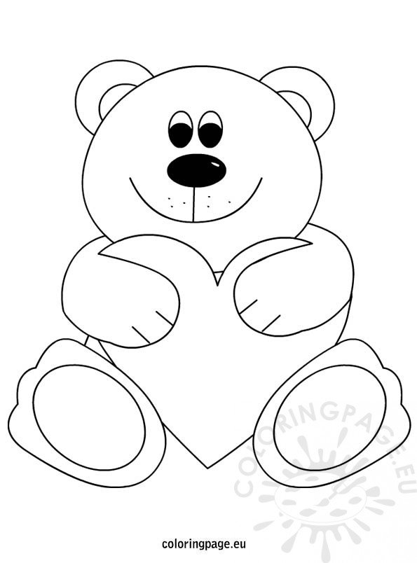 coloring pages teddy bear heart | Teddy bear heart coloring page – Coloring Page