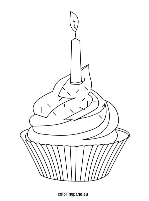 Cupcake with colorful sprinkles and candle | Coloring Page