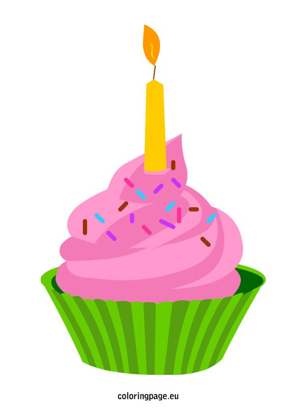 Cupcake with candle | Coloring Page
