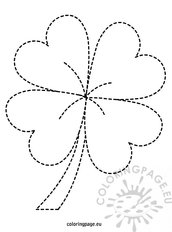 St. Patrick'S Day - Four Leaf Clover | Coloring Page