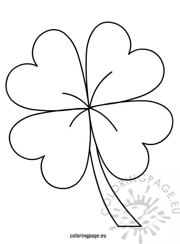 It is a graphic of Four Leaf Clover Printable Template intended for large
