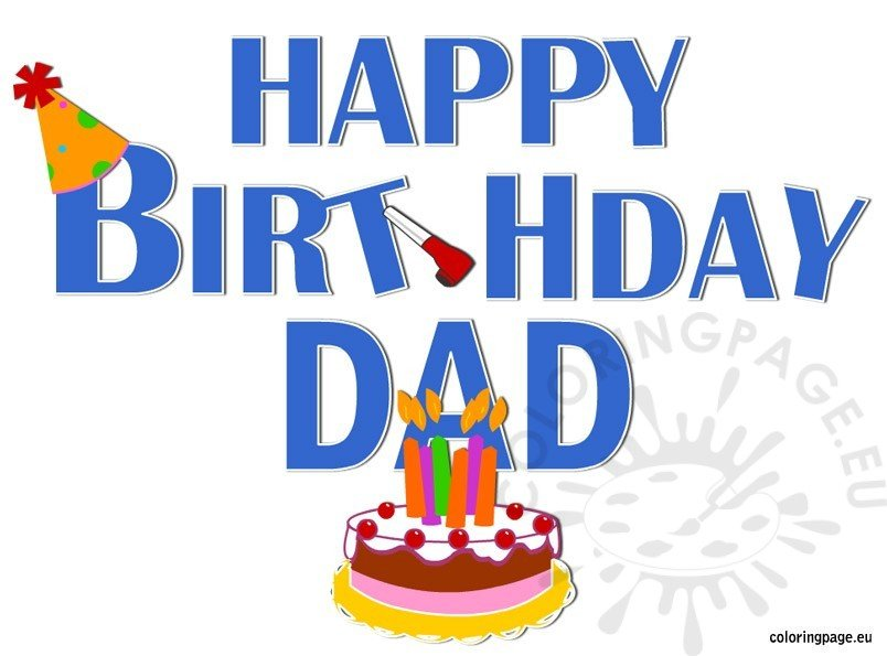 Happy Birthday Dad Coloring Page