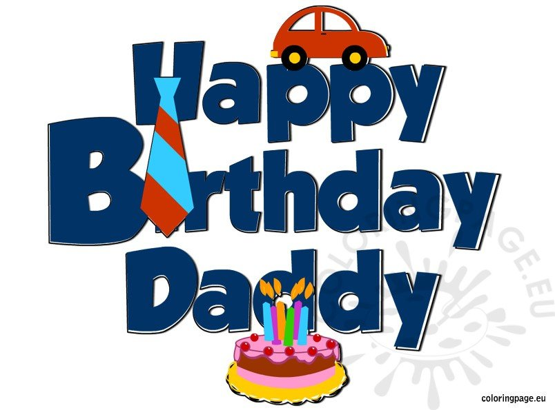 Happy Birthday Daddy - Coloring Page