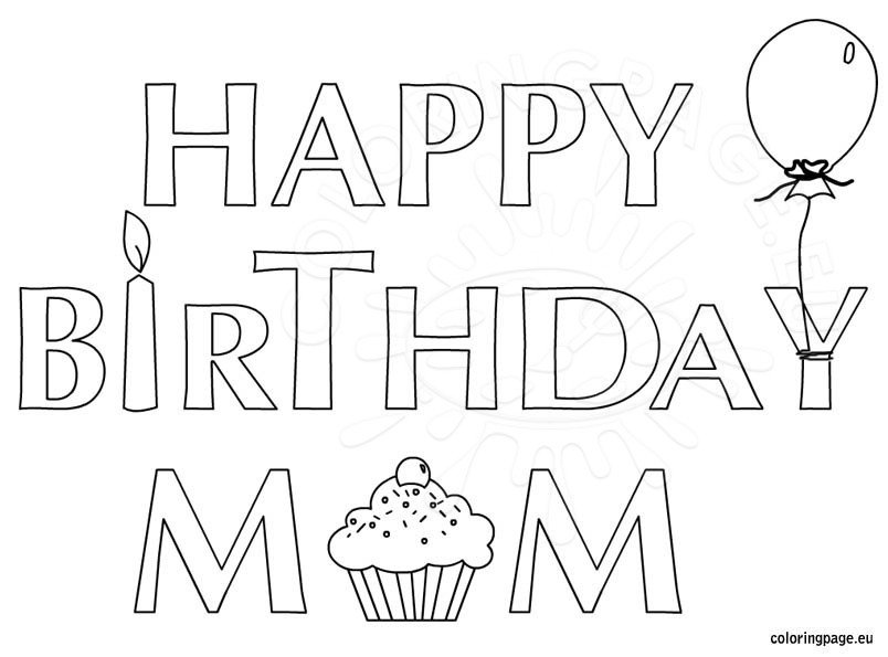 Happy birthday mom coloring page for kids for Happy birthday coloring pages for kids