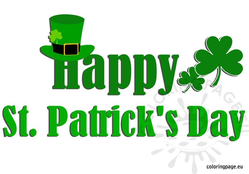 happy st patrick s day coloring page rh coloringpage eu St. Patrick's Day Border St. Patrick's Day Clip Art Black and White
