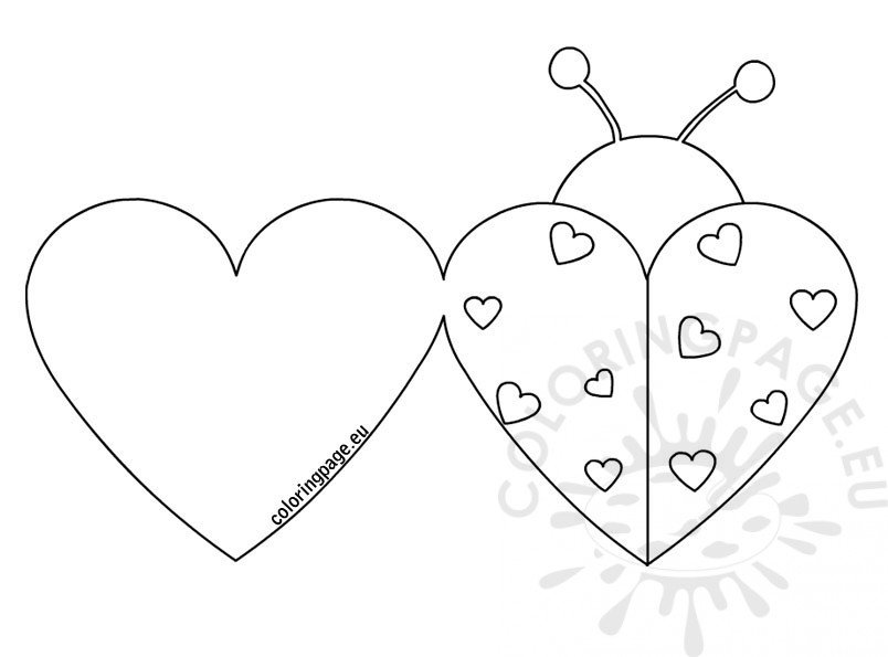 Ladybug Valentine cards | Coloring Page
