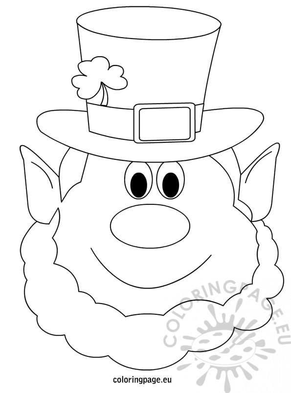 Leprechaun coloring page for Leprechaun mask template