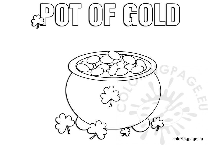 Pot Of Gold Coloring Page Pot Of Gold Coloring Page