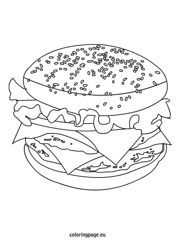 Cheeseburger Coloring Page Coloring Page