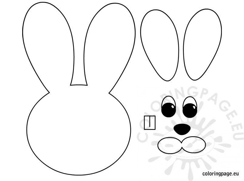 easter bunny paper craft coloring page