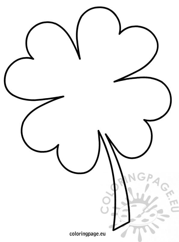 picture relating to 4 Leaf Clover Printable named 4 leaf clover template Coloring Web site