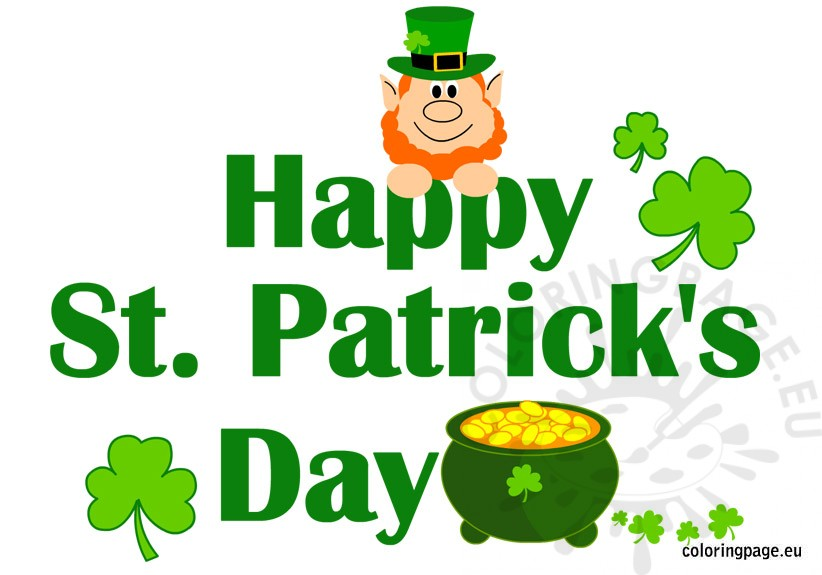 Happy St Patrick S Day Printable Coloring Page