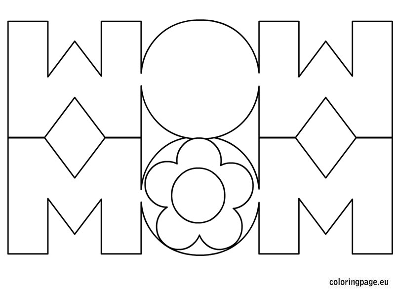 Mom card coloring page for Mom coloring pages