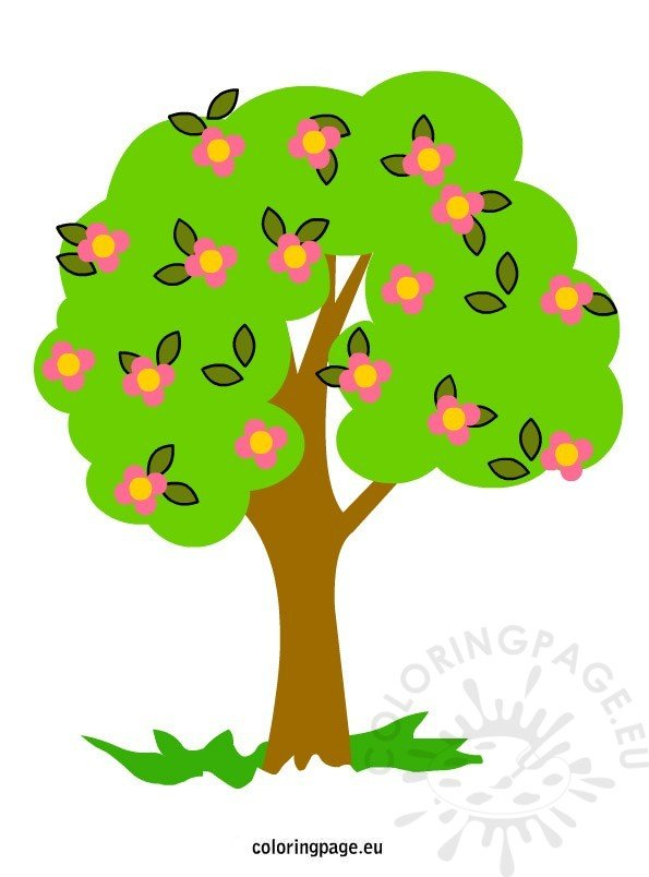 Tree with flowers clipart