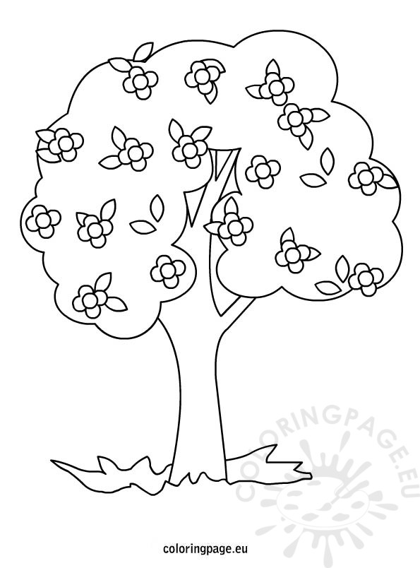tree with flowers coloring  u2013 coloring page