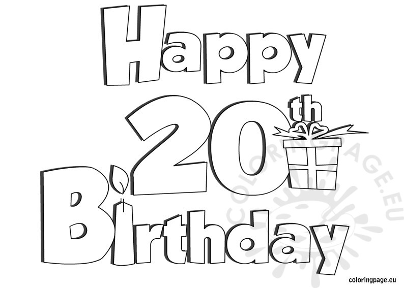 Happy 20 Birthday Coloring Page – Coloring Page