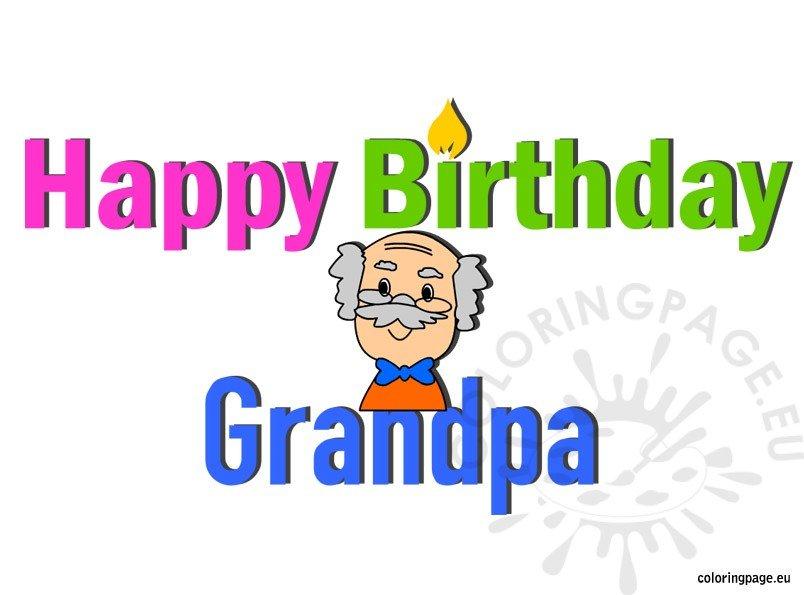 Happy Birthday Grandpa - Coloring Page