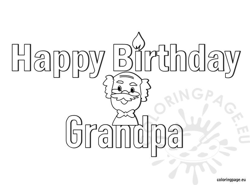 Happy Birthday Grandpa Coloring Page