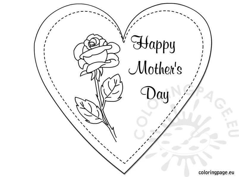 graphic relating to Printable Mothers Day Cards to Color named Printable Moms Working day Card in the direction of Colour Coloring Webpage