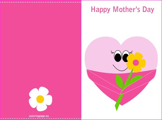 picture regarding Happy Mothers Day Printable Cards identified as Moms working day printable card Coloring Web page