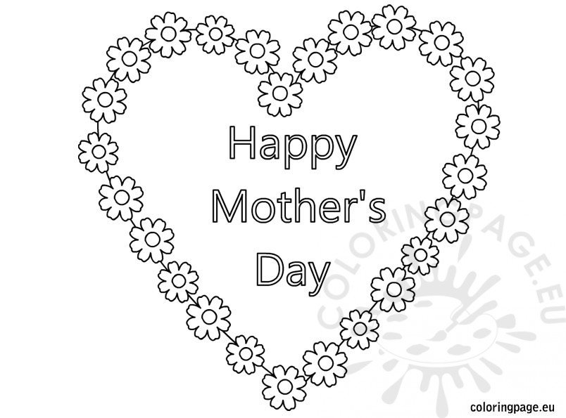 Happy MotherS Day Heart And Flowers coloring page