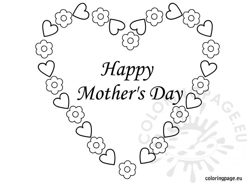 Mothers Day Heart Coloring Pages Mother's Day Heart Coloring