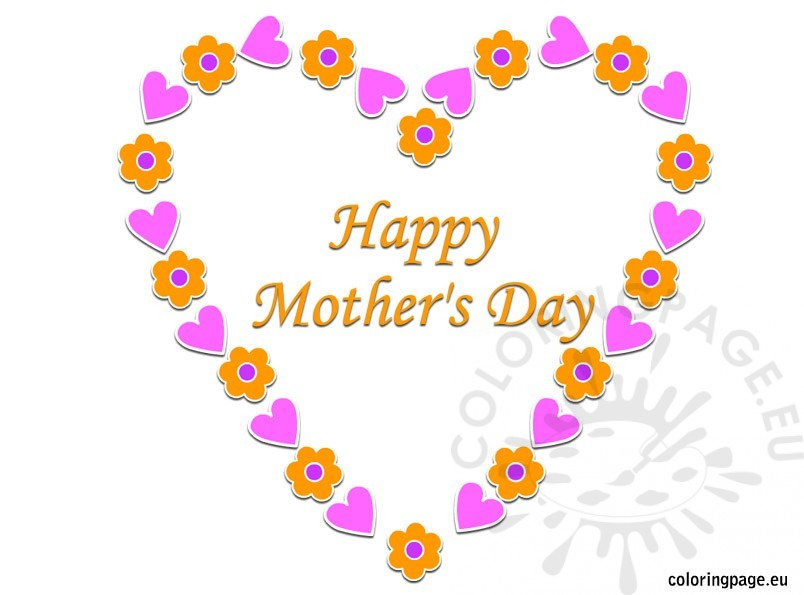 Happy Mother'S Day Hearts and Flowers
