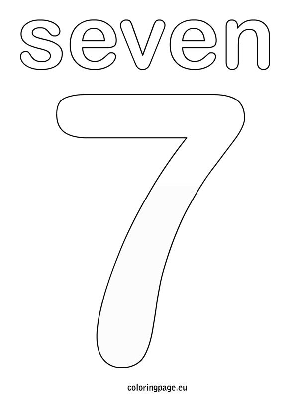 Numbers coloring page for Number 7 coloring page