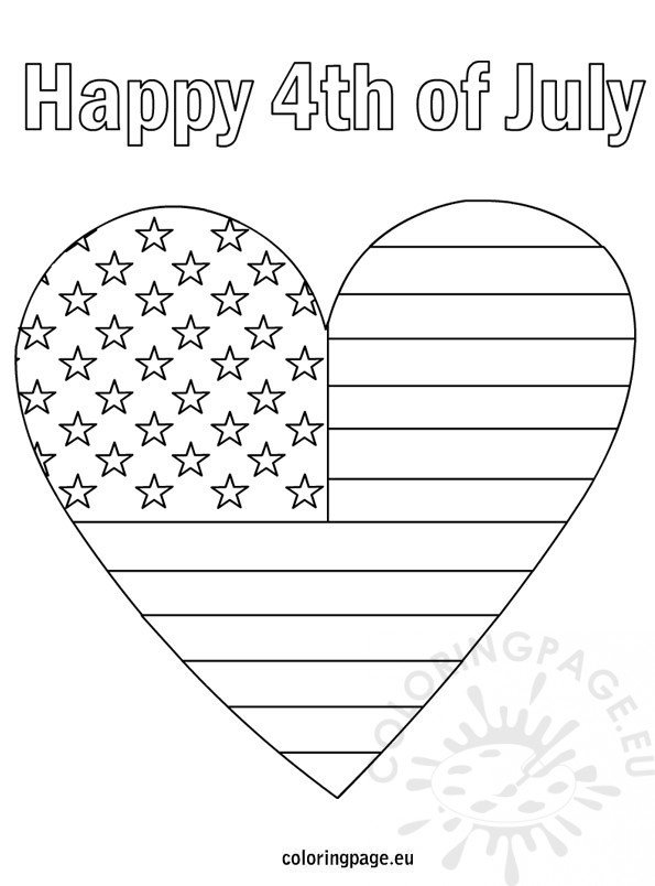 4th of july patriotic heart coloring page for Flag heart coloring page