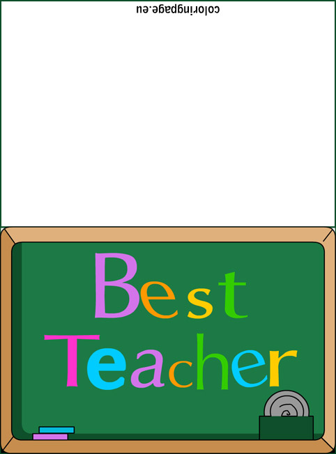 Best Teacher Card Coloring Page