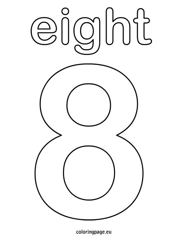 Eight coloring page for Number 8 coloring page