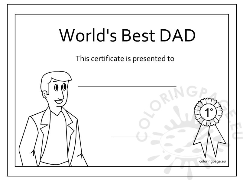 Father s Day Award coloring page