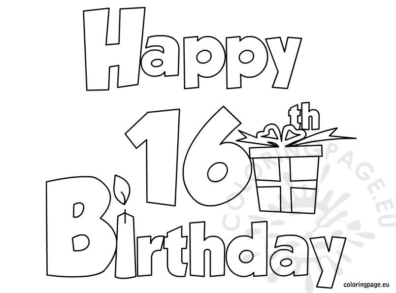 happy 16 birthday coloring page - Birthday Coloring Pages