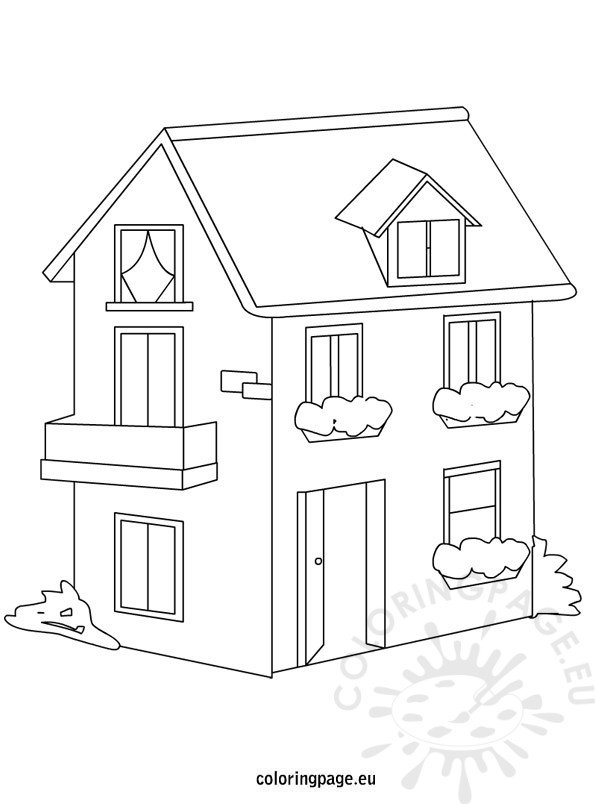 house-coloring-page