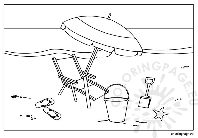 Summer Beach Coloring Page Coloring Page