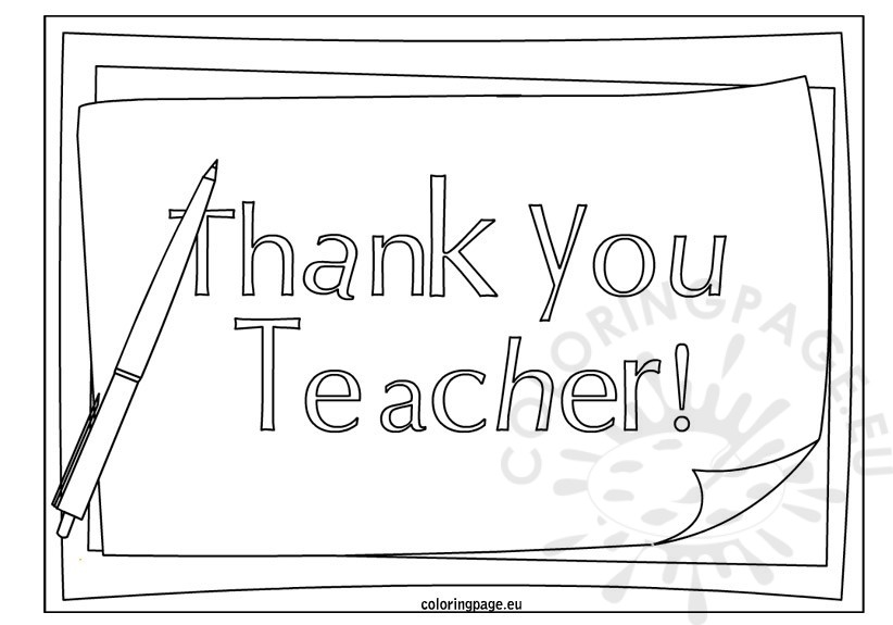 thank you teacher coloring page