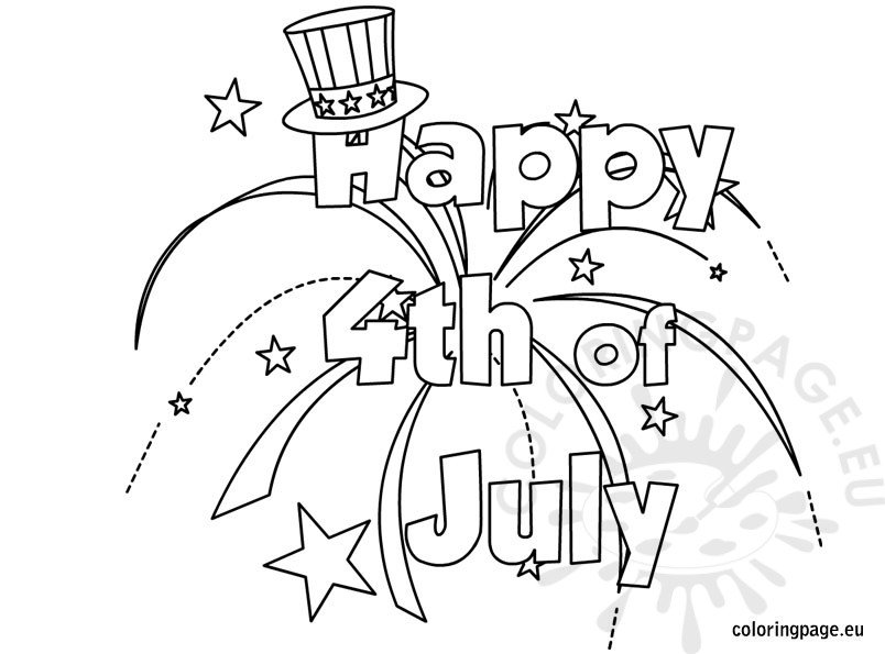 Happy July Coloring