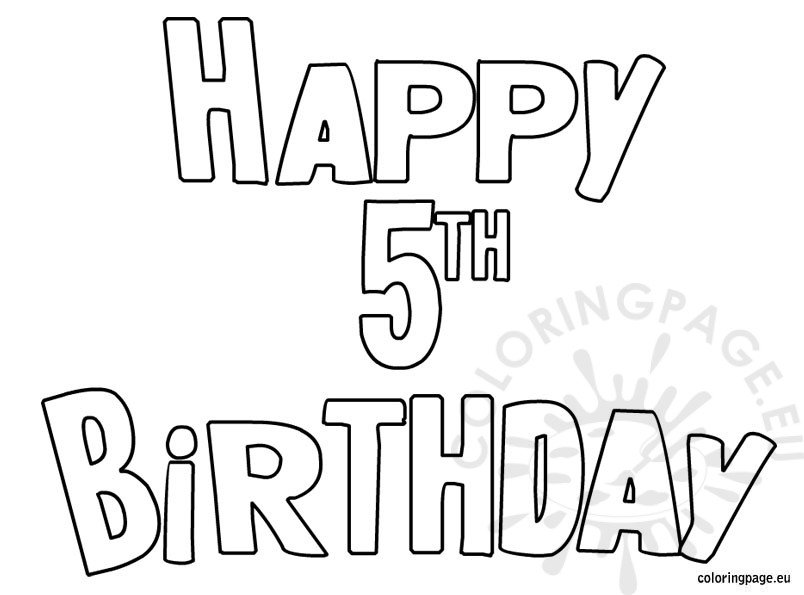 5th Birthday Coloring Pages
