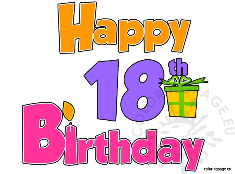 Happy 18th Birthday Coloring Page