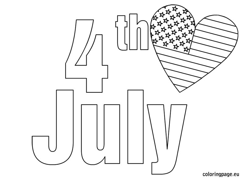 Independence day coloring page for 4th of july color pages