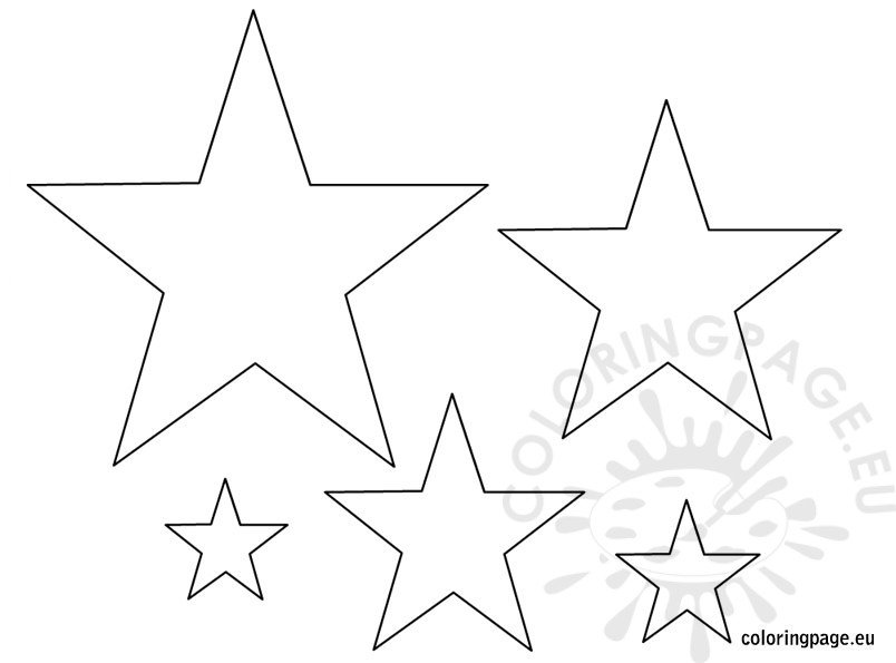 small medium large star template coloring page