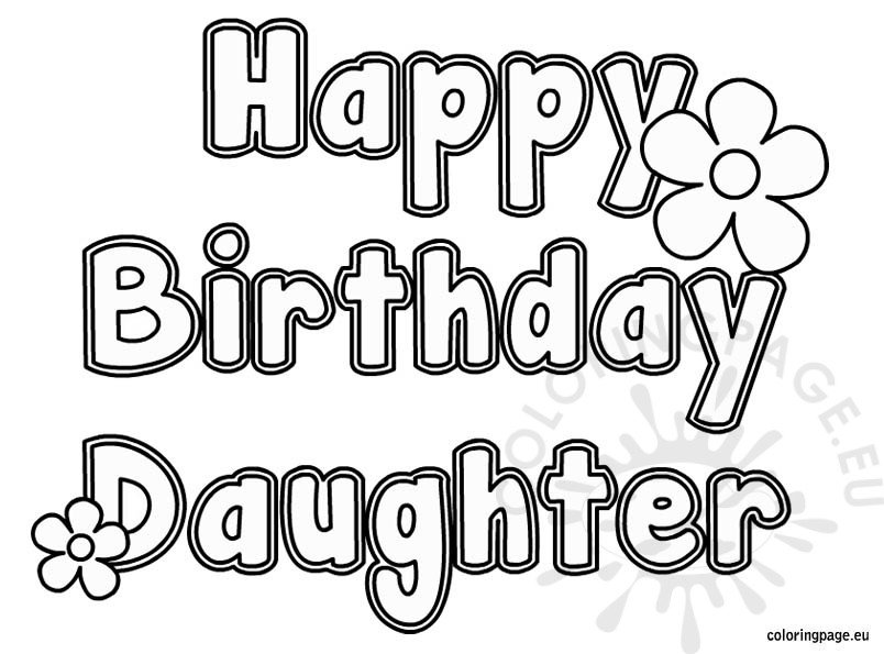 Happy Birthday Daughter coloring