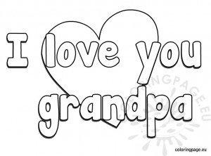 I love you grandpa coloring page